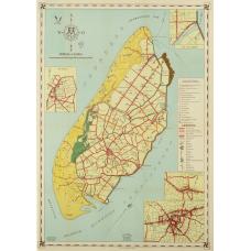 Oude landkaart Texel op canvas